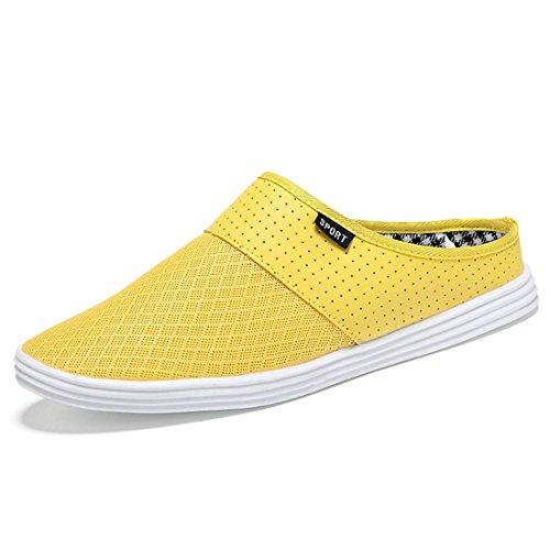 jeansian Moda Casuale Pantofole Scarpe Sandali Mocassini Scarpe da Uomo Yellow 9 US SHB013