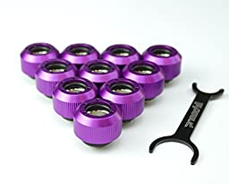 Rigid Revolver Compression Fitting - Straight Knurled Grip - Anodized Purple- 10 Pack