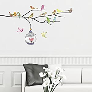 Decowall DW-1202, 14 Birds and Cage Wall Stickers