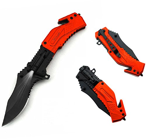 RS Insights Best Survival Emergency Rescue Folding Pocket Knife - Attached LED Flashlight - Partially Serrated, Stainless Steel Blade -