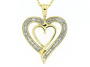 Genuine Diamond 1/5cttw Double Heart Pendant in Gold Over Sterling Silver