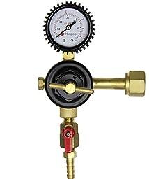 Kegco KC LHC-961 Premium Single Gauge Kegerator Beer Regulator, Brass