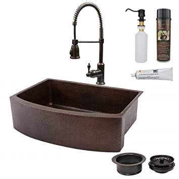 Premier Copper Products KSP4-KASRDB33249 33 in. Copper Hammered Kitchen Rounded Apron Sink with Spring Pull Down Faucet