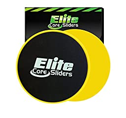 Elite sportz equipment Core Exercise Sliders - 2 Dual Sided Gliding Discs for Carpet & Hardwood Floors, Yellow