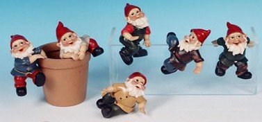 Set of 12 Garden Gnome Pot Planter Clingers