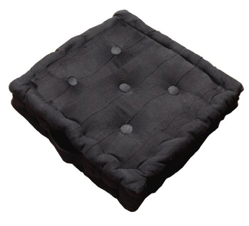 Homescapes Rajput 100% Cotton Floor Cushion- Black - 40 x 40 x 10 cm Square - Indoor - Garden - Dining Chair Booster - Seat Pad Cushion