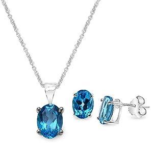 4.10 Carat Swiss Blue Topaz Oval Shape .925 Sterling Silver Earring & Pendant Set from Silvancé