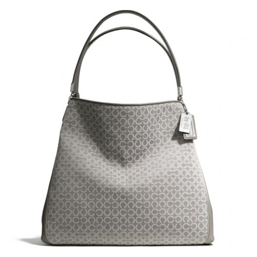 Coach   Coach Madison Op Art Needlepoint Small Phoebe Shoulder Light Grey