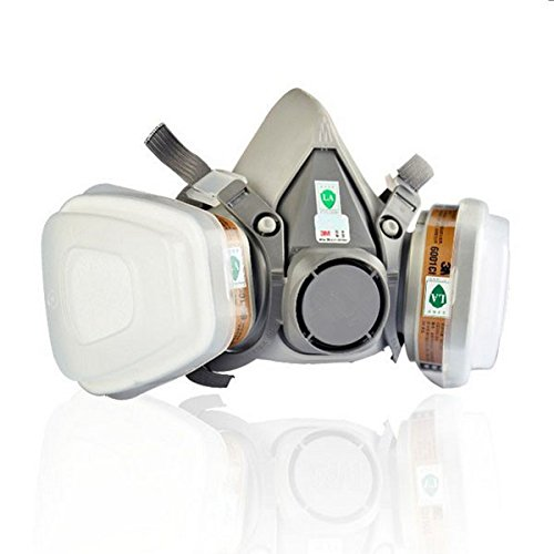 [Double Gas Mask 3M 6200 N95 Protection Filter Industrial Gas Chemical Anti-Dust Safety Respirator] (Full Face Gas Mask Costume)