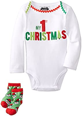Baby's 1st Christmas Outfit and Sock Set from Mud Pie