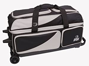 BSI Triple Ball Roller Bowling Bag, Black/Grey