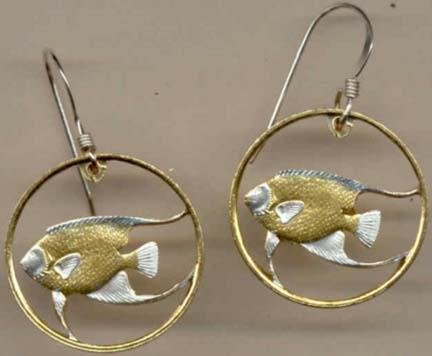 Bermuda 5 Cent ÒAngel FishÓ Two Toned Coin Cut Out Earrings