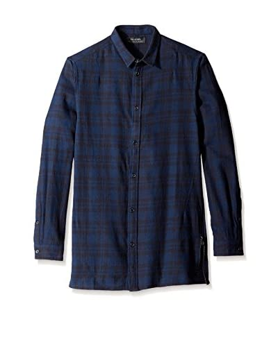 Religion Men's Blaze Long Sleeve Longline Checked Shirt