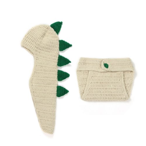 Double Baby Knit Crochet Cartoon Dinosaur Photo Costume Set Beige 0-24 Months