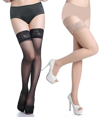 Lubricious Thigh High Stockings (Plus Size 2 Pack, Black, Nude) (Plus Size High Socks)