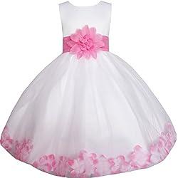 EE35 Sunny Fashion - Vestito floreale, bambina, bianco 9-10 anni