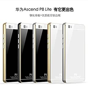 Zhigao Luphie for Huawei P8 Lite Thin Aluminum Metal Case Gorilla Glass Back Cover Skin White + Gold Frame