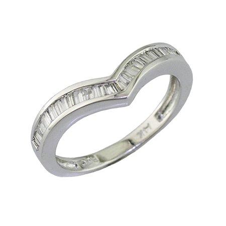 1/3 CT V-Shape Baguette Cut Diamond Wedding Band 14K White Gold (Available In Sizes J - T)