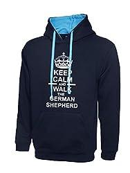 Keep Calm And Walk The German Shepherd Navy Blue & Sky Blue Contrast Hoody