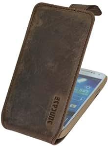 Samsung Galaxy S4 mini (i9195) / Flip-Style Ledertasche Tasche *ECHT LEDER* Handytasche Case Etui Hülle (Original Suncase®) antik-braun