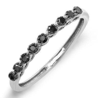 0.20 Carat (ctw) 10K White Gold Round Black Real Diamond Wedding Anniversary Stackable Matching Band 1/5 CT