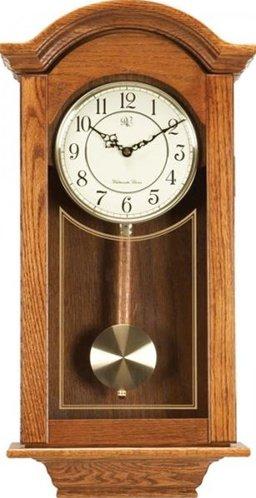 River City Clocks Chiming  Regulator Wall Clock with Swinging Pendulum and Oak Finish - 24 Inches Tall - Model # 6023O
