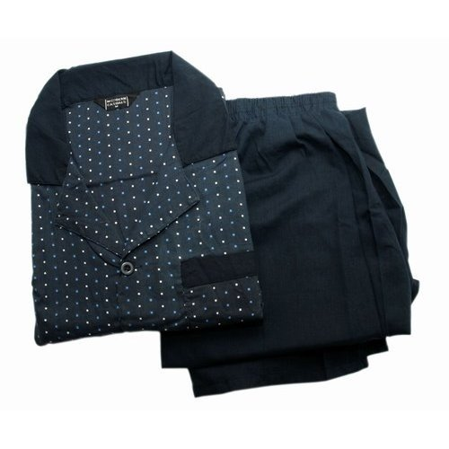 Mens Square Patterned Long Sleeve Pyjamas/Nightwear in Navy Blue