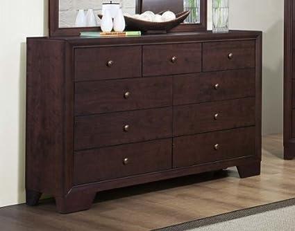 Homelegance Kari 9 Drawer Dresser In Warm Brown Cherry