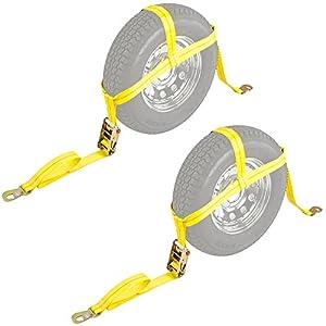 """2-Pack Auto Hauler 13""""-16"""" Wheel Bonnet Ratchet Tie-Down Strap"""