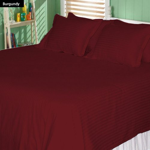 600 Tc 4 Pc King Size Attached Waterbed Sheet Stripe Burgundy By Jay'S Home Goods front-940169