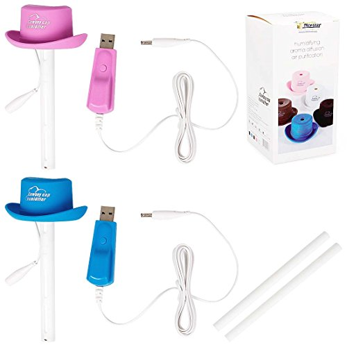 RoryTory 2 pc Pink Blue Mini Cowboy Hat USB Power Air Purifying Humidifier Set
