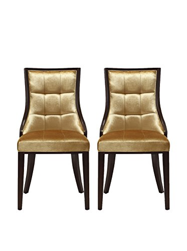Ceets Set of 2 5th Ave Dining Chairs, Antique Gold