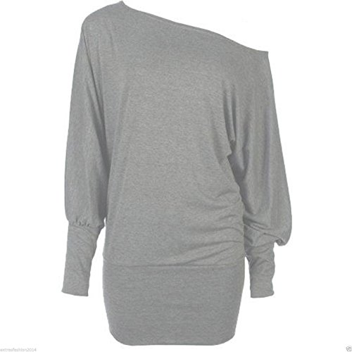 Plain L/S Batwing S4G5 Grey S/M 9023. Ideal for Flashdance dress-up