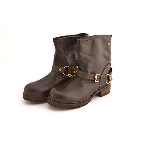 Scarpe stivali donna Love Moschino numero 39 JA24024 in pelle testa di moro con catene e applicazioni dorate