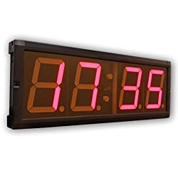 EU 4 LED Countdown&CountUP stopwatch and Clock Red Color Hours Minutes IR Remote Control Aluminum Casese