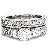 1.50CT Vintage Diamond Engagement Wedding Ring Set 14K