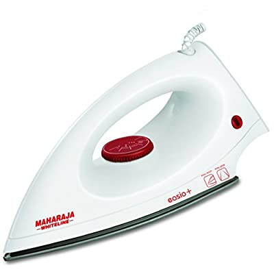 Maharaja Whiteline Easio Plus 1000-Watt Dry Iron (White and Red)