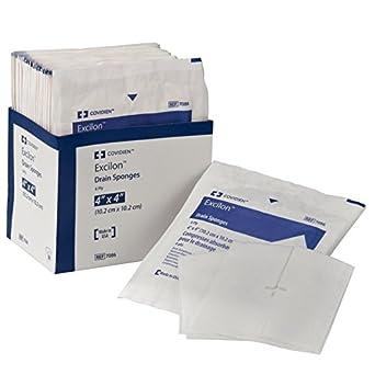 "Covidien 7086 Excilon Drain Sponge, Sterile 2's in Peel-Back Package, 4"" x 4"", 6-ply (Pack of 50)"