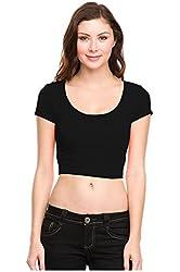 G2 Chic Women's Short Sleeve Scoop Neck Crop Top