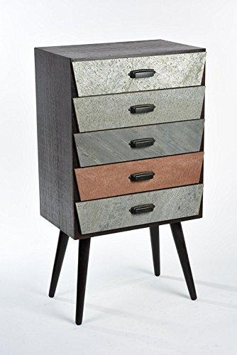 Cassettiera 5 cassetti legno colorato Retrò stile anni 70 moderno