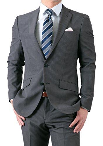 春夏 なめらか新素材 洗えるパンツ 2ツボタン スリムスーツ 仕事 ビジネス グレー・ストライプ 体型:A体 6号