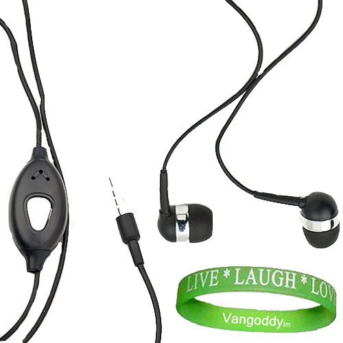 3.5Mm Jack (Black) Perfect Fit Earbud Headphones With Microphone For Htc Titan Ii (Titan 2) Windows Phone + Vangoddy Live Laugh Love Wristband!!