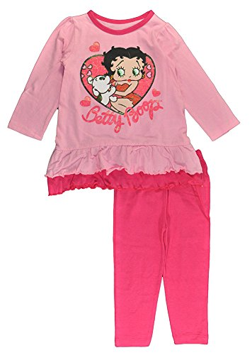 [Betty Boop Little Girls Pink Doggy Love Tunic 2pc Legging Set (3T)] (Betty Boop Outfit)