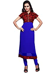 Mirchi Fashion Women's Red And Blue Faux Georgette And Art Silk Stitched Kurti