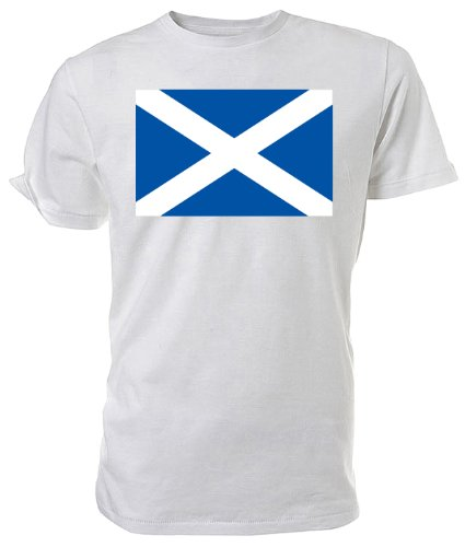 Scottish Flag T shirt, white size Large
