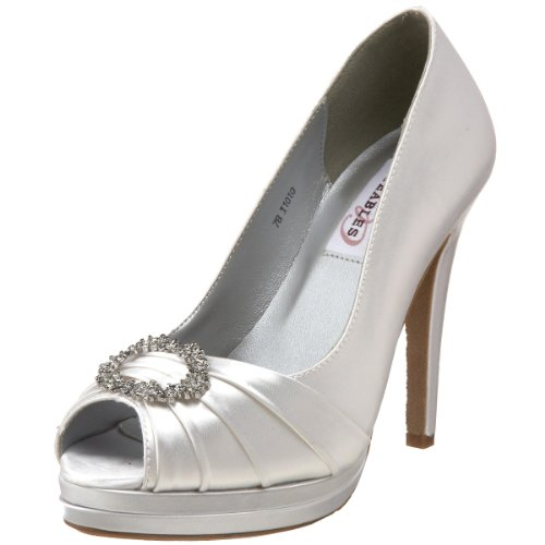 Dyeables Women's Gianna Platform Pump, White, 8.5 M US