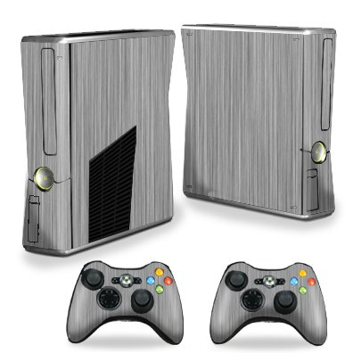 Protective Vinyl Skin Decal Cover for Microsoft Xbox 360 S Slim + 2 Controller Skins Sticker Skins Steel