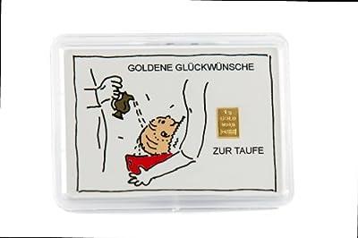 """Glückwunschkarte Motivbox """"Taufe"""" mit eingebettetem 1g Goldbarren"""