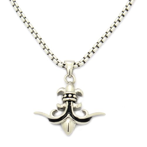 2 PIECE SET: Vintage 19-Inch Stainless Steel Rolo Chain Necklace With Fleur De lis Pendant (LIFETIME WARRANTY)
