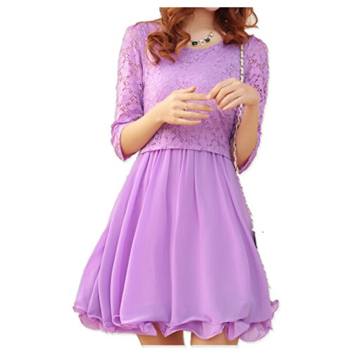 Lana Hua Women'S Chiffon And Lace Flare Skater Dress (Small, Purple)
